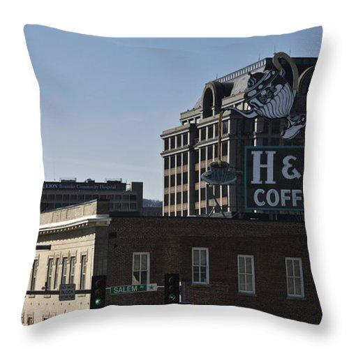 Roanoke Throw Pillow featuring the photograph Historic Landmark Signs Roanoke Virginia by Teresa Mucha
