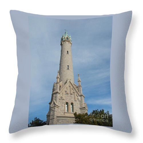 Milwaukee Throw Pillow featuring the photograph Historic Milwaukee Water Tower by Ann Horn