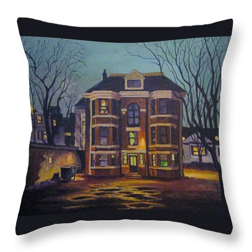 Moody Throw Pillow featuring the painting Historic Property South End Haifax by John Malone