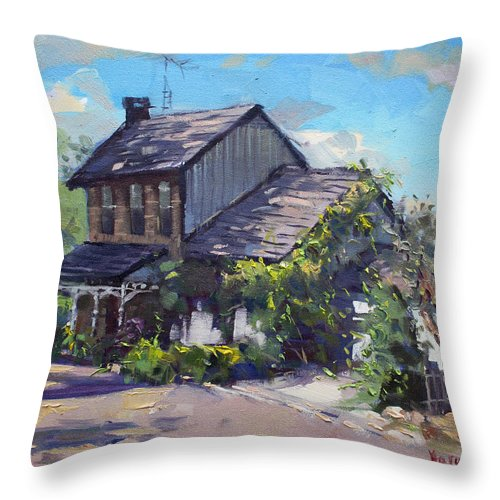 Historical House Throw Pillow featuring the painting Historical House Ontario by Ylli Haruni