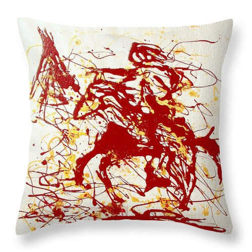 Indian Throw Pillow featuring the painting History In Blood by J R Seymour