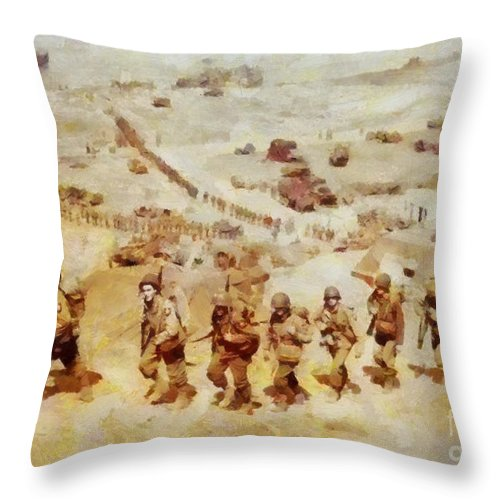 History In Color  D Day, Omaha Beach, Wwii Throw Pillow