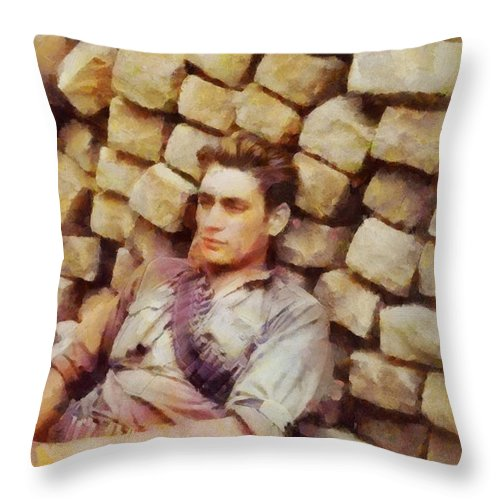Wwi Throw Pillow featuring the painting History In Color. French Resistance Fighter, Wwii by Sarah Kirk