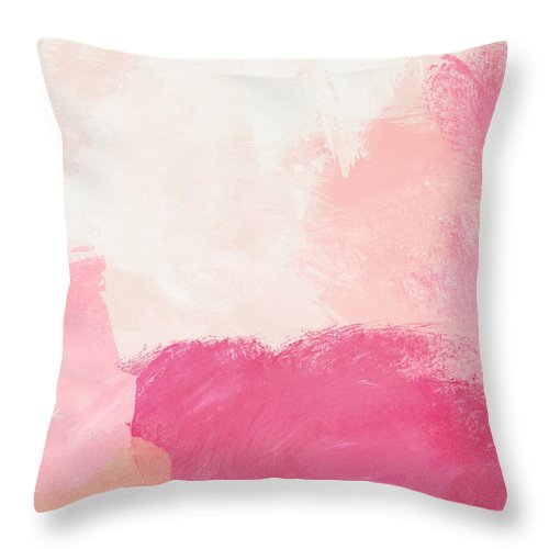 Abstract Throw Pillow featuring the mixed media History of Pink- Abstract Art by Linda Woods by Linda Woods