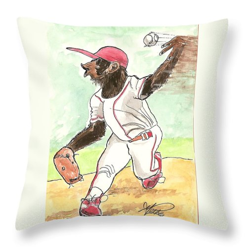 Baseball Throw Pillow featuring the drawing Hit This by George I Perez