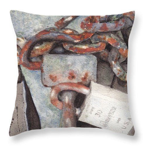 Lock Throw Pillow featuring the painting Hitch Lock by Ken Powers