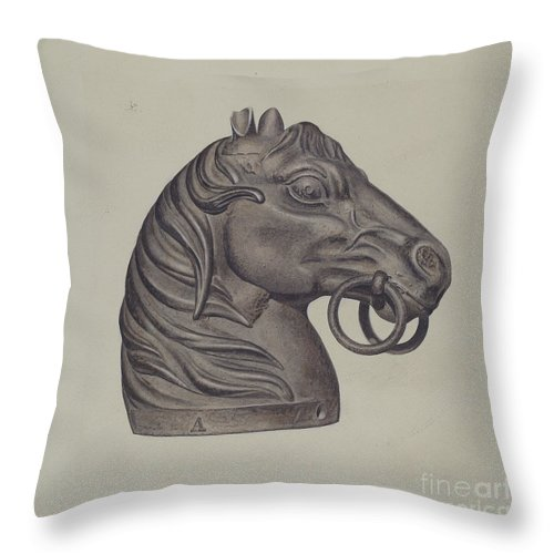 Throw Pillow featuring the drawing Hitching Post by American 20th Century