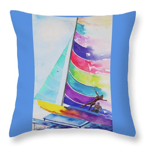 Sailboats Throw Pillow featuring the painting Hobie High by Larry Johnson