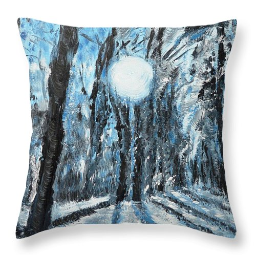 Landscape Throw Pillow featuring the painting Hochleite In January by Valerie Ornstein