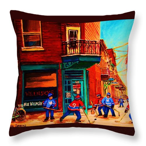Wilenskys Throw Pillow featuring the painting Hockey At Wilenskys Corner by Carole Spandau