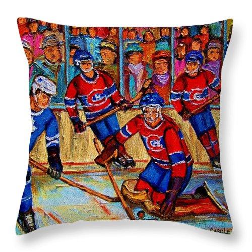 Hockey Throw Pillow featuring the painting Hockey Hero by Carole Spandau