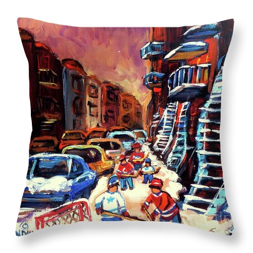 Montreal Throw Pillow featuring the painting Hockey Paintings Of Montreal St Urbain Street Winterscene by Carole Spandau