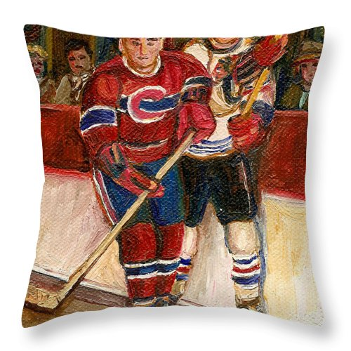 Hockey Throw Pillow featuring the painting Hockey Stars At The Forum by Carole Spandau