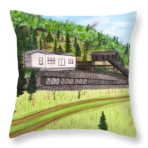 Mine Throw Pillow featuring the painting Hocking Valley Mine by David Bartsch