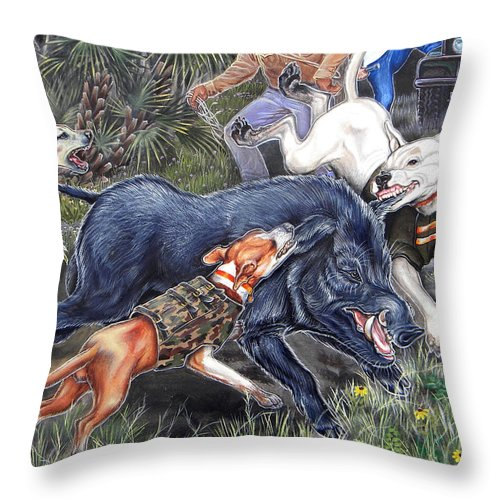 Hog Throw Pillow featuring the painting Hog Hammock Earrings by Monica Turner