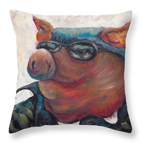 Hog Throw Pillow featuring the painting Hogley Davidson by Nadine Rippelmeyer
