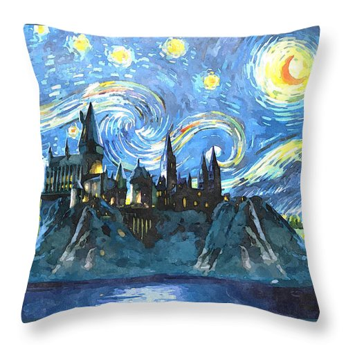 Harry Potter Art Throw Pillow featuring the painting Harry Potter Starry Night by Midex Planet