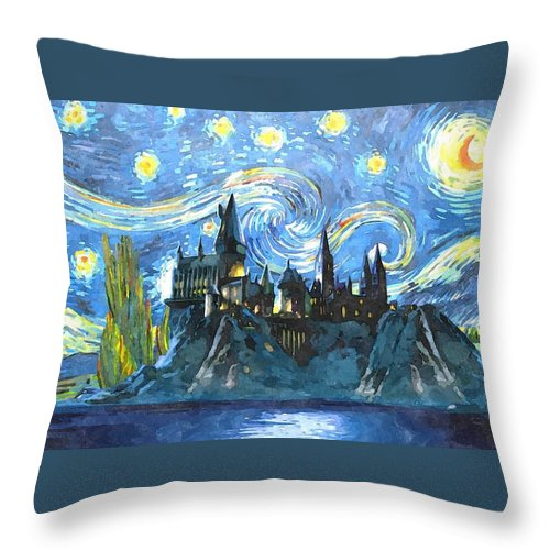 Harry Potter Art Throw Pillow featuring the digital art Blue Hogwarts Poster by Midex Planet