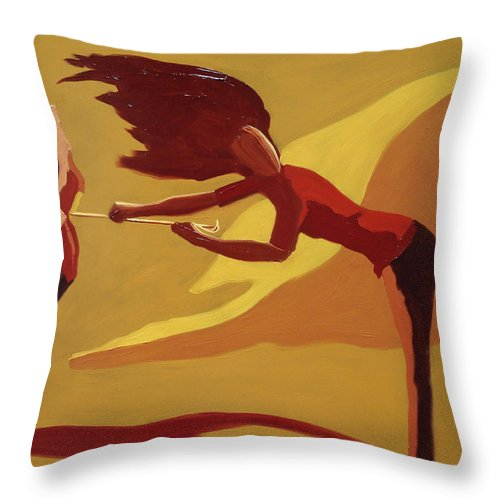 Woman Throw Pillow featuring the painting Hold On by Barbara Andolsek