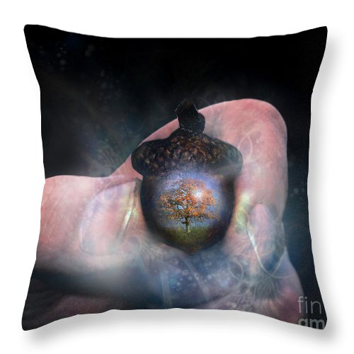 Hold Throw Pillow featuring the digital art Hold On To Your Future by Carrie Jackson Glenn