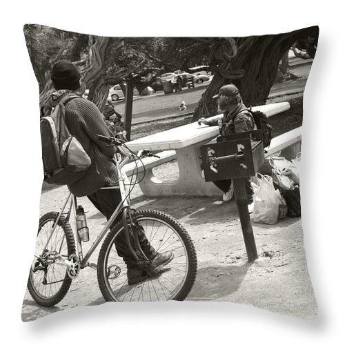 Homeless Throw Pillow featuring the photograph Holding Court by Heather Kirk