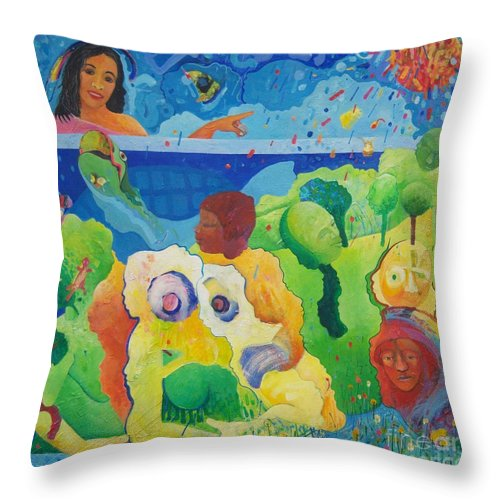 Human Relationships Throw Pillow featuring the painting Holding Lifes Illusion by Richard Heley