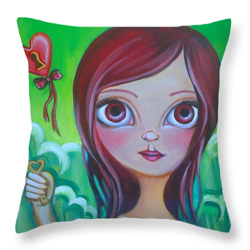 Pop Throw Pillow featuring the painting Holding The Key by Jaz Higgins