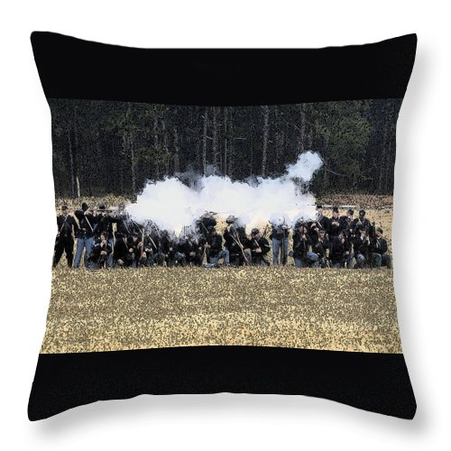 Civil War Throw Pillow featuring the painting Holding The Line by David Lee Thompson