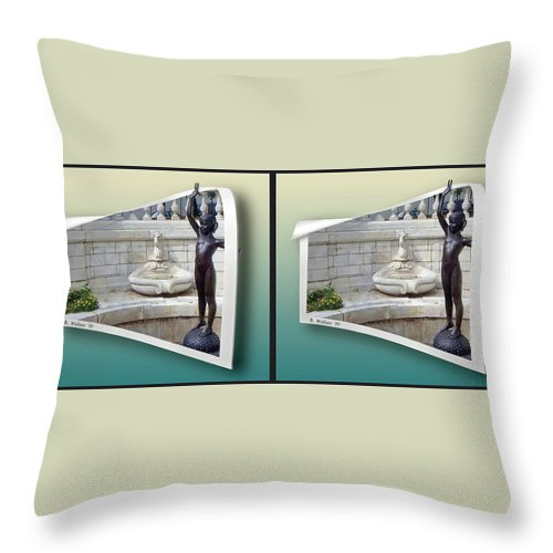 3d Throw Pillow featuring the photograph Holding Up My End - Gently Cross Your Eyes And Focus On The Middle Image by Brian Wallace