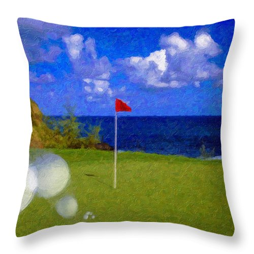 Hole In One 18th Green Ball Flag Green Ocean Palm Trees Throw Pillow featuring the photograph Fantastic 18th Green by David Zanzinger