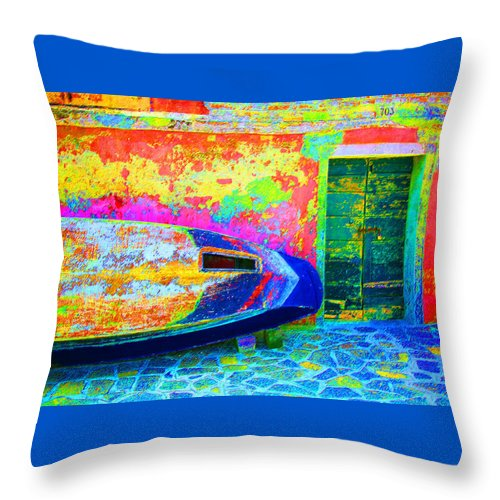 Digital Pastel Throw Pillow featuring the digital art Hole In The Boat by Donna Corless