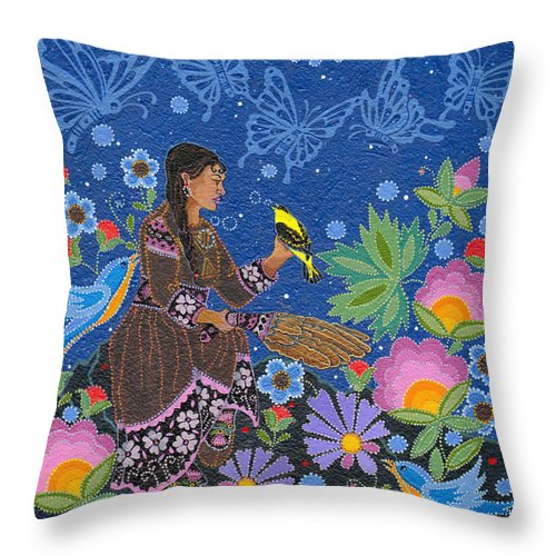 Native Women Throw Pillow featuring the painting Hole In the Sky's Daughter by Chholing Taha
