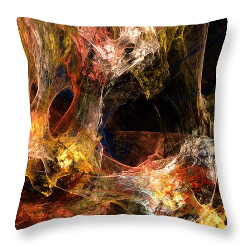 Abstract Throw Pillow featuring the digital art Holes by Ruth Palmer