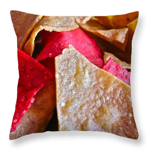 Photograph Of Chips Throw Pillow featuring the photograph Holiday Chips by Gwyn Newcombe