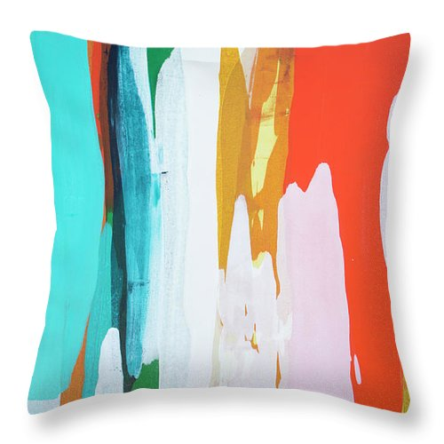 Abstract Throw Pillow featuring the painting Holiday Everyday by Claire Desjardins