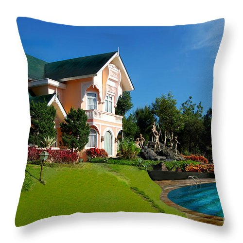 House Throw Pillow featuring the photograph Holiday Home by Charuhas Images