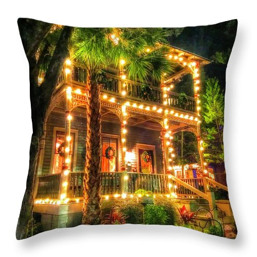 House Throw Pillow featuring the photograph Holiday House by Debbi Granruth