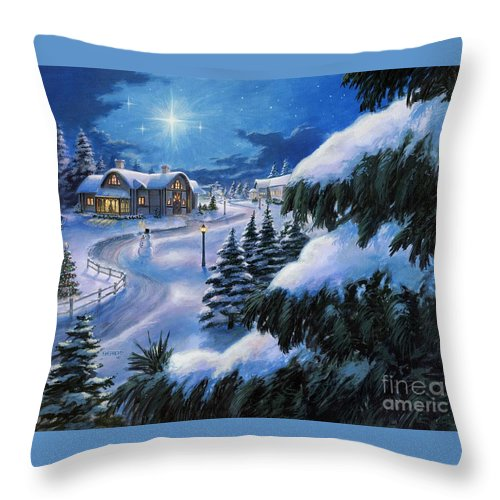 Christmas Throw Pillow featuring the painting Holiday Lane by Stu Shepherd
