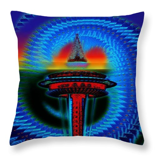Seattle Throw Pillow featuring the digital art Holiday Needle Illusion by Tim Allen