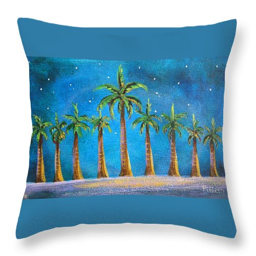 Holiday Card Throw Pillow featuring the painting Holiday Palms by Patricia Piffath