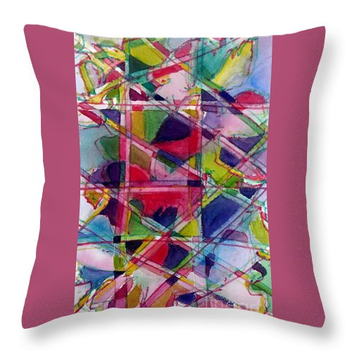 Abstract Throw Pillow featuring the painting Holiday Rush by Jan Bennicoff