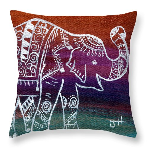 Hindu Mythology Throw Pillow featuring the painting Holi's First Dance by Jaime Haney