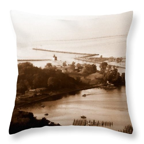 Holland Throw Pillow featuring the photograph Holland Michigan Harbor Big Red Aerial Photo by Michelle Calkins