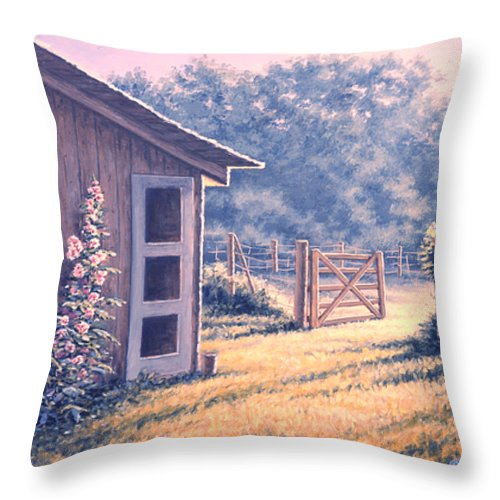 Flowers Throw Pillow featuring the painting Holly Hocks by Richard De Wolfe
