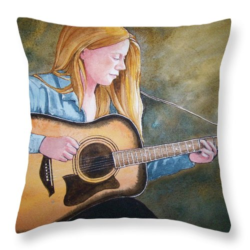 Guitar Throw Pillow featuring the painting Holly by Lynn Babineau