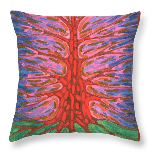 Colour Throw Pillow featuring the painting Holly Tree by Wojtek Kowalski