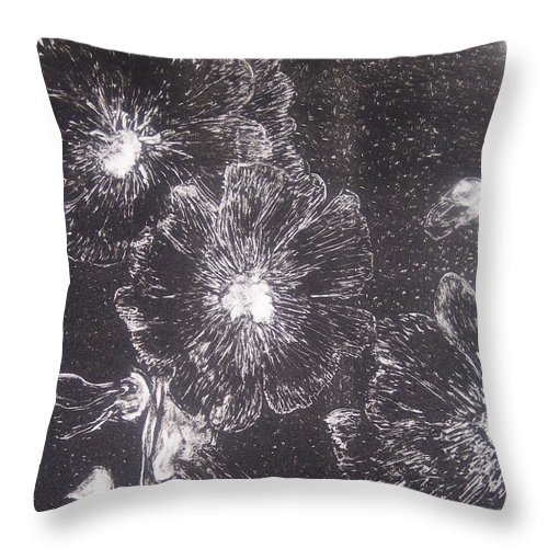 Flowers Throw Pillow featuring the painting Hollyhock by Emily Young