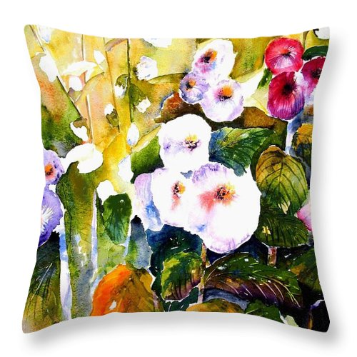 Hollyhock Throw Pillow featuring the painting Hollyhock Garden 1 by Marti Green