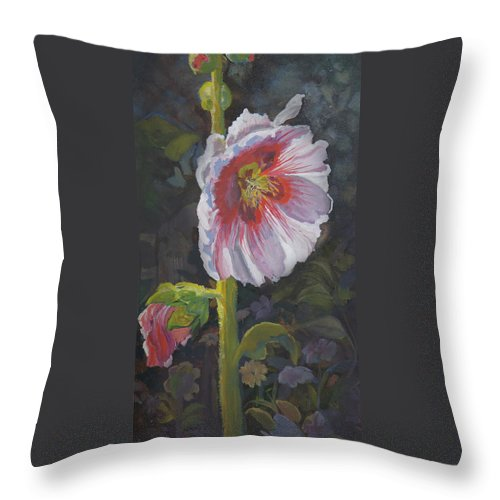 Flower Throw Pillow featuring the painting Hollyhock by Heather Coen