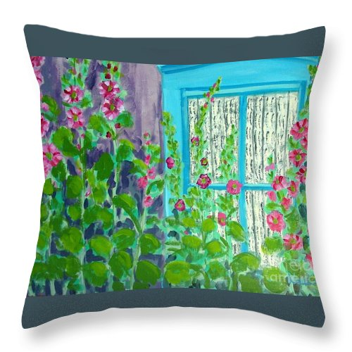 Hollyhocks Throw Pillow featuring the painting Hollyhock Surprise by Laurie Morgan